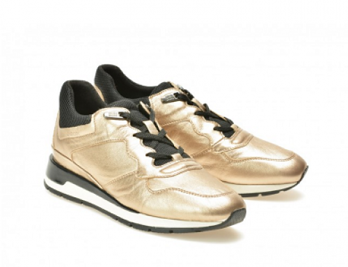 Pantofi sport damă aurii din piele naturală Geox DKD44
