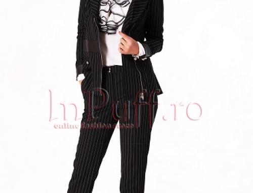 Costum damă office cu pantaloni, cu dungi, Eda INP