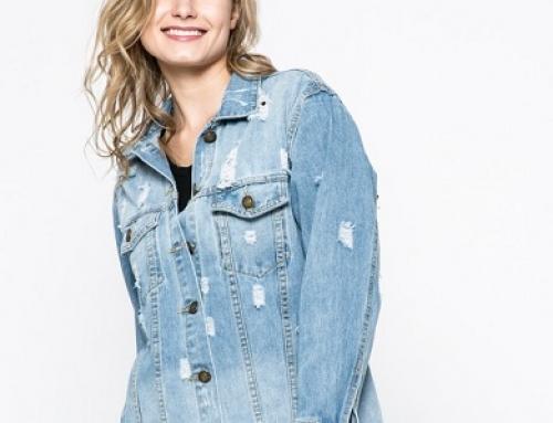 Jachetă de damă lungă de blugi cu inserții decorative, Answear