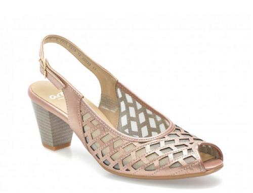 Sandale de damă din piele năbuc și cu toc gros, Ara DK32