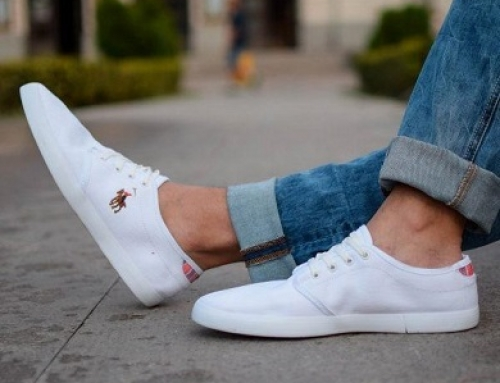 Teniși albi pentru bărbați cu talpă joasă, Polo MOX