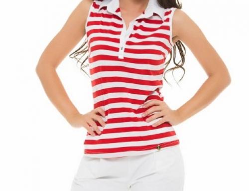 Top damă de vară alb cu guler polo și dungi roșii PrettyGirl