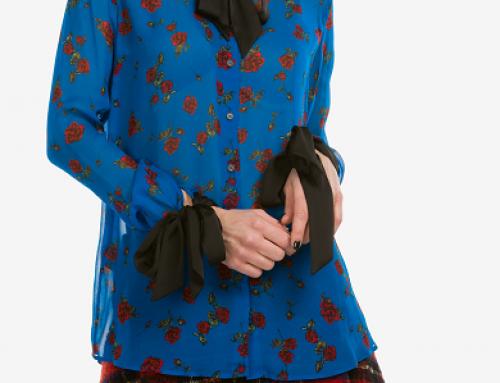 Bluză de damă albastră cu imprimeu floral Pinko Tamburo