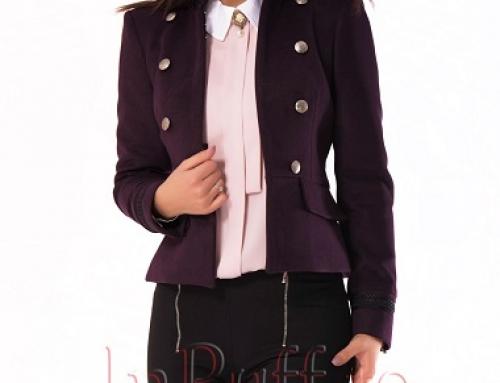 Jachetă de damă scurtă elegantă, mov, cu broderie, Lucy INP