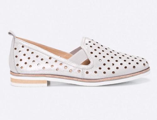 Pantofi damă cu talpă joasă și perforații, piele naturală, Caprice