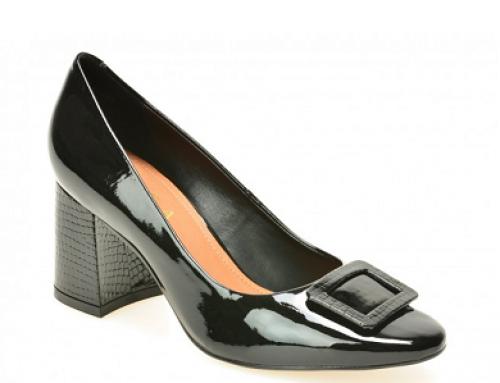 Pantofi damă eleganți din piele lăcuită și toc solid, Epica DK809