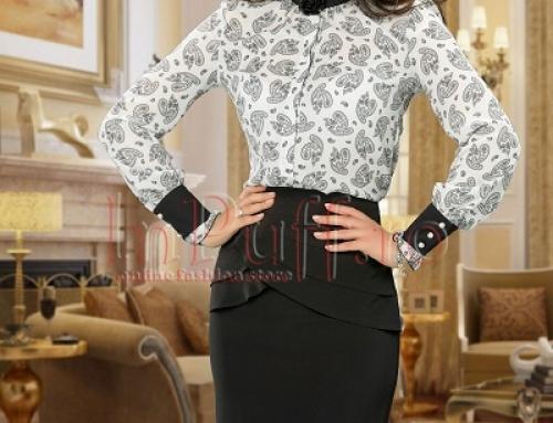 Bluză de damă office cu volănașe la guler, cu imprimeu, Inp