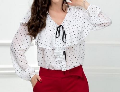Bluză de damă elegantă albă cu buline și volănașe Xara