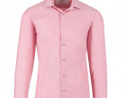 Cămașă office slim fit și din bumbac pentru bărbați, Basic Pink