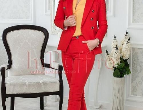 Costum damă office roșu cu pantaloni, cambrat, Agata