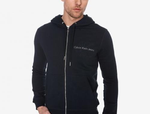 Hanorac sport cu glugă, Logo și fermoar bărbați Calvin Klein