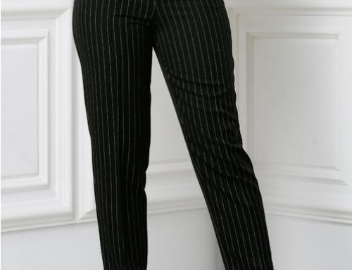 Pantaloni de damă office negri conici, cu dungi, Xara Dyf