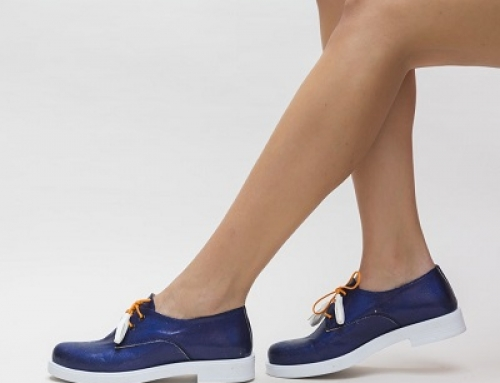 Pantofi de damă casual albaștri, cu talpă joasă, Kate