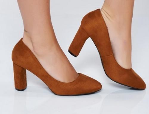Pantofi de damă office maro cu toc gros și înalt, StrshK52