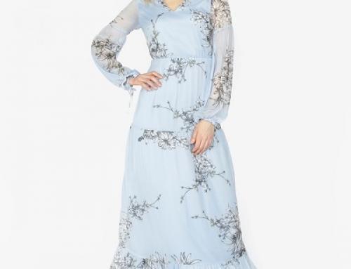 Rochie vaporoasă cu imprimeu și fundă la mâneci Vero Moda Satina