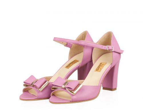 Sandale de damă elegante din piele naturală, cu fundă, Lilya