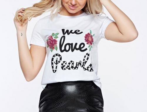 Tricou de damă din bumbac, cu print în față, Top Secret