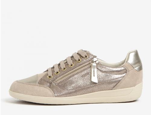 Pantofi sport damă din piele naturală, metalizați, Geox Myria