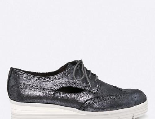 Pantofi de damă Oxford argintii, piele naturală, Tamaris Zone