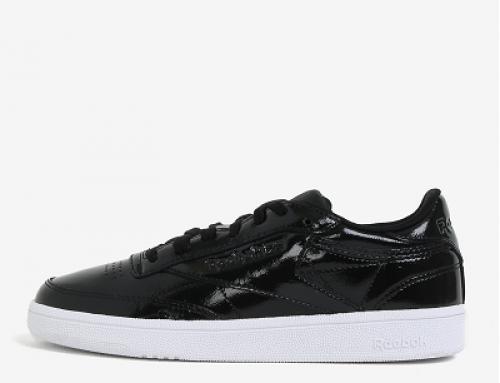 Pantofi sport damă negri din piele naturală lăcuită Reebok Club C 85