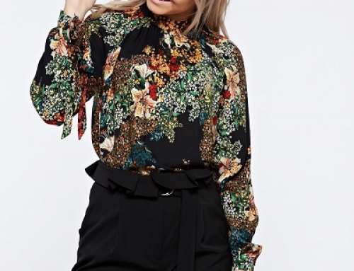 Bluză de damă elegantă vaporoasă cu imprimeu și panglică, PrettyGirl