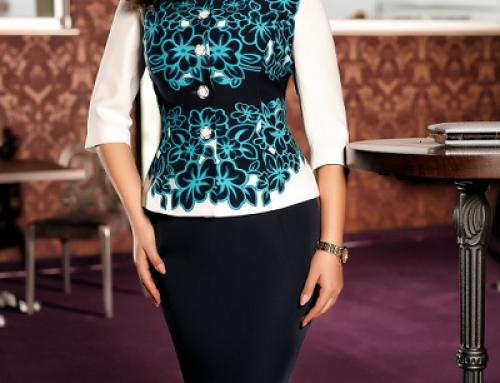 Costum damă elegant cu sacou cu imprimeu turcoaz 3D, Ingrid