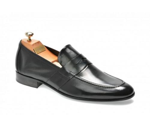 Pantofi office negri din piele naturală pentru bărbați Le Colonel