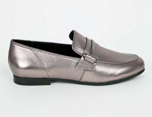 Pantofi damă argintii cu toc plat și din piele naturală Steve Madden