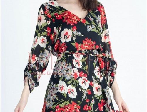 Rochie casual cu imprimeu floral multicolor și cordon în talie, Paloma