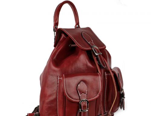 Rucsac damă roșu din piele naturală, cu șiret și cataramă, GB111