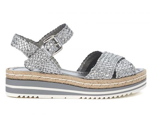 Sandale damă argintii metalizat, din piele naturală, Pons Quintana