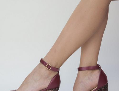 Sandale de damă elegante grena cu toc gros și înalt Saloma Dep