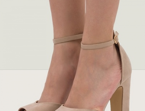 Sandale damă elegante bej, cu toc gros și înalt, cu imprimeu, Matija