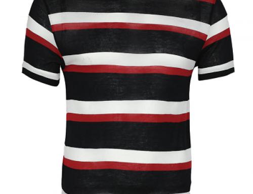 Tricou din material subțire și cu dungi pentru bărbnați ZARA Nile Black