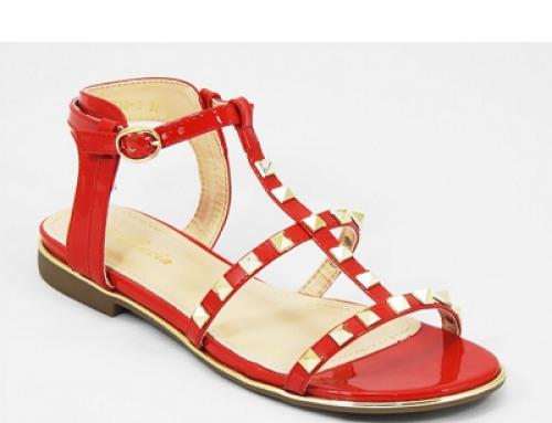 Sandale de damă roșii cu talpă joasă și ținte metalice Galena BS