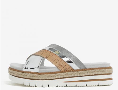 Papuci damă comozi argintii cu platformă și barete suprapuse Tamaris