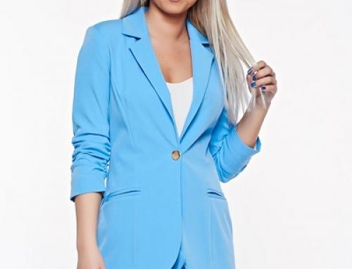 Sacou damă office albastru cu mâneci trei-sferturi, cambrat, PrettyGirl