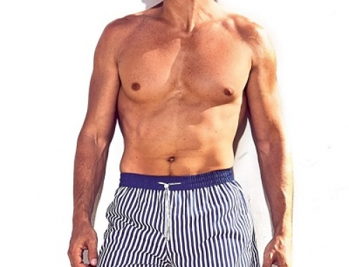 Șort de baie cu imprimeu în dungi și buzunare bărbați Hawai Marine Caicco