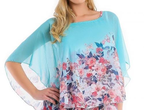 Bluză de damă vaporoasă din voal și cu imprimeu floral Indie Ama