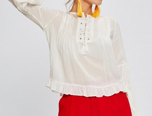 Bluză de damă albă vaporoasă și lejeră, cu șnur, Answear KsRQ