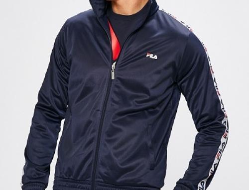 Bluză sport albastră cu fermoar și guler ridicat pentru bărbați FILA KaRW