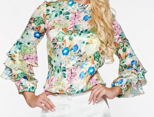 Bluză damă vaporoasă cu imprimeu floral și volănașe la mâneci, PrettyGirl