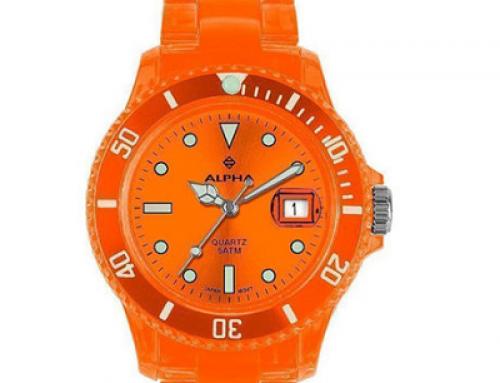 Ceas de damă casual portocaliu Alpha Saphir 249D, 5 ATM, Quartz