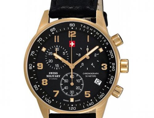 Ceas cu brățară din piele, 5ATM, bărbați Swiss Military Chrono SM34012.10
