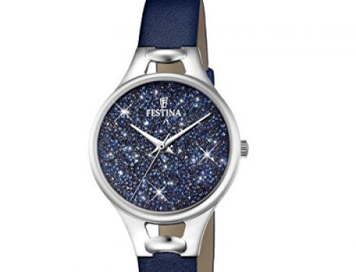 Ceas damă cu cristale Swarovski, brățară din piele, Festina 20334/2, 5 ATM