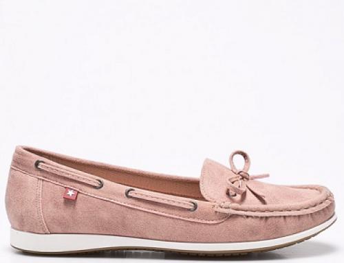 Mocasini de damă roz cu toc plat, căptușiți cu piele naturală Big Star