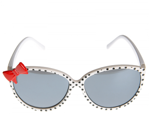 Ochelari de soare de damă albi cu buline și fundă roșie, Fiona LYSQ