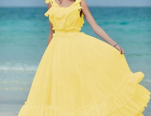 Rochie lungă galbenă vaporoasă realizată din material de voal, Isla KJHT