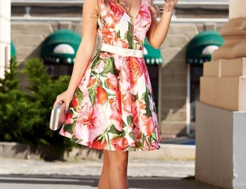 Rochie de seară cu imprimeu floral, satinată, în cloș, Artista K-55369Y