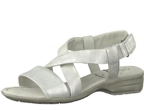 Sandale de damă comode argintii din piele naturală Jana Viv, SoftStep